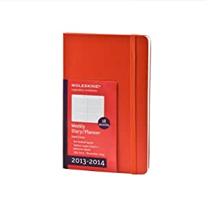 Moleskine 2014 Planner 18 Month Weekly Horizontal Red Pocket