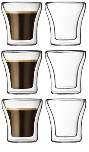Bodum Assam Double-Wall Insulated 3-Ounce Glasses, Set Of 6