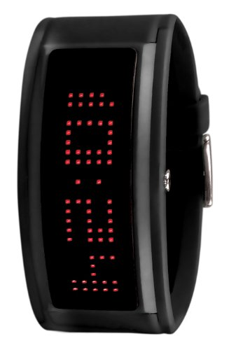 Black Dice 'Guru' Black Unisex Watch With Red LED Programmable Scrolling Message