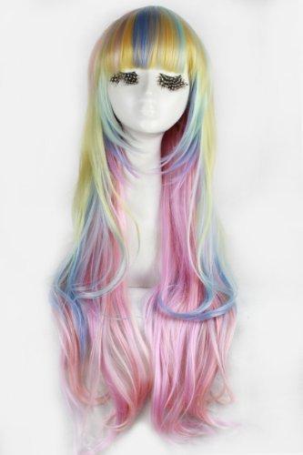 86cm Long Zipper Multi-color Wave Anime Cosplay Wig Cb33