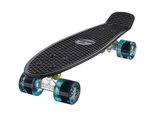 "Ridge Skateboards 22"" Mini Cruiser Skateboard, Nero/Blu Chiaro"