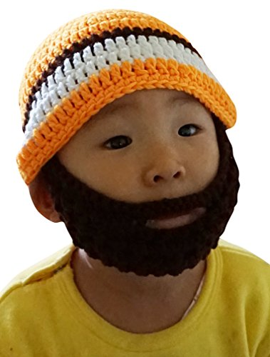 Boys Toddler Ski Wacky Beard Knit Winter Hat Beanie Yellow
