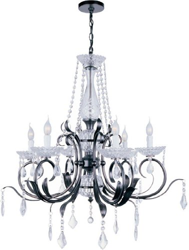 Lite Source EL-10024 Gardenia 6-Lite Chandelier Lamp, Dark Bronze And Crystals