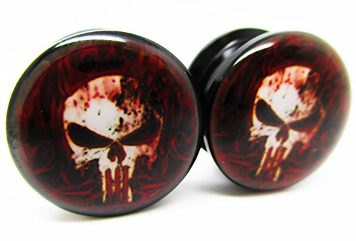 The Punisher Bloody Skull Ear Plugs - Acrylic Screw-On - 8 Sizes - Brand New *Pair* (4 Gauge (5mm)) (Size 8 Plugs compare prices)