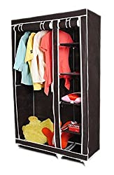 PINDIA FANCY & PORTABLE FOLDABLE BROWN CLOSET WARDROBE CABINET
