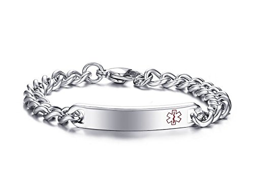 Free Engraving - Stainless Steel Medical Alert ID Bracelet for Women,Silver,8
