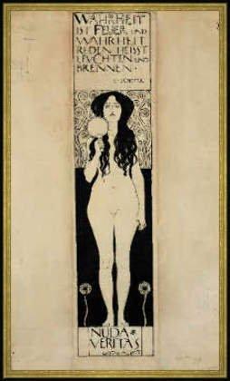 "Bild mit Rahmen: Gustav Klimt, ""Nuda Veritas"", 58 x 100 – Holz Corum S: Gold"