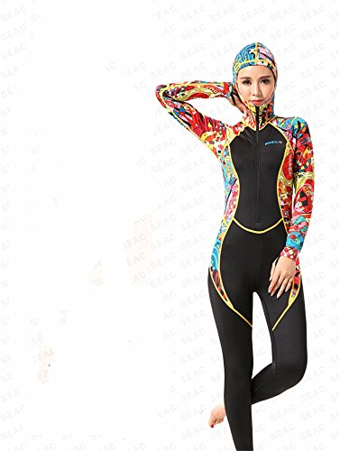 [AZSHARAA conjoined long sleeve wetsuit snorkeling clothing surf clothing 0.5mm (Hooded, XL)] (Full Body Costumes Sydney)