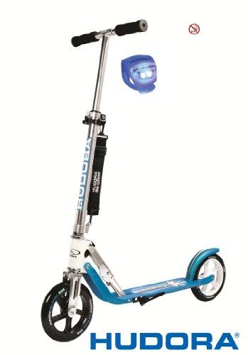 Hudora Scooter / Roller / Cityroller Big Wheel MC / RX 205 mit LENKERLICHT (TÜRKIS / BLAU)