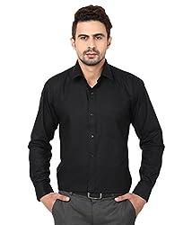 Trendiez Men's 100% Cotton Casual Black Shirt (Size : 38)