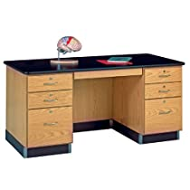"Big Sale Diversified Woodcrafts 1131K Solid Oak Wood Teachers Work Desk, Plastic Laminate Top, 60"" Width x 30"" Height x 30"" Depth"