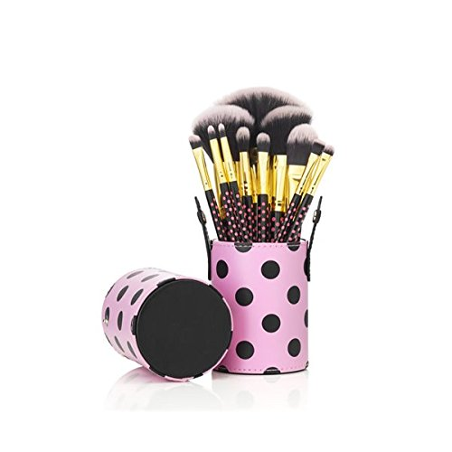 G2Plus® Hot 11PCS Travel Cosmetics Makeup Brushes Set Kits with Lovely Pink Dot Pattern Brush Holder