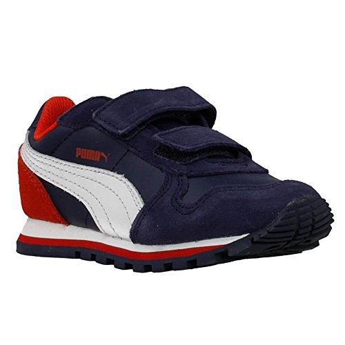 Puma - ST Runner L V - 35908804 - Couleur: Blanc-Bleu marine-Rouge - Pointure: 34.5