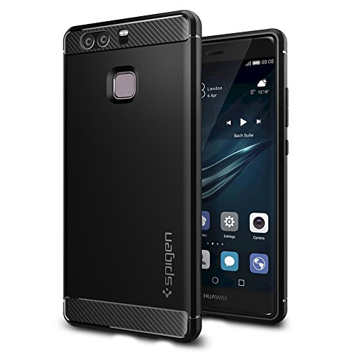 Huawei P9 Case, Spigen® [Rugged Armor] Resilient [Black] Ultimate protection from drops...