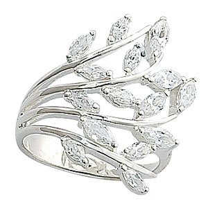 Silver Fancy Cubic Zirconia Ring - Size J