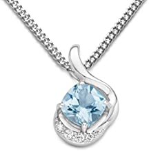 Byjoy 925 Sterling Silver Cushion Cut Sky Blue Topaz Pendant on a Curb Chain of 45cm BAE221N