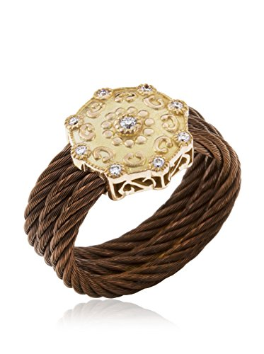 Charriol Women's Celtique Rose 18K Rose Gold, Bronze-Tone Stainless Steel & Diamond Ring