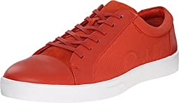 Calvin Klein Men\'s Igor Leather/Smooth Fashion Sneaker, Red/Orange, 10 M US