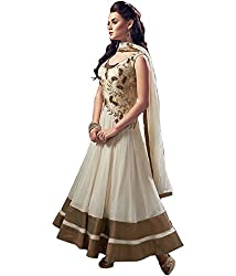 Aarsh Apparel Women's Georgette Anarkali Suit Dress Material (aa-af11_White)