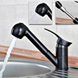 Pull Out Spray Kitchen Basin Sink Mixer Tap Swivel Spout Monobloc Faucet Black