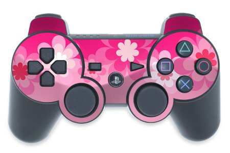 Playstation 3 Controller Skin Retro Pink Flowers