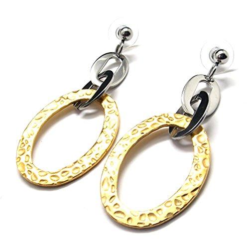 TEMEGO Schmuck Damen Edelstahl Klassische Creolen Casted baumeln Ohrringe, goldene Silber