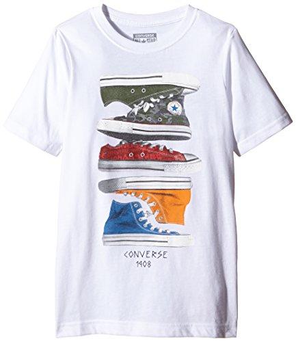Flying Monkey Press - Sneaker Stack, T-shirt per bambini e ragazzi, bianco (weiß - weiß), 13 anni (158 cm)