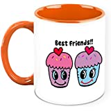 HomeSoGood Happy Best Friends White Ceramic Coffee Mug - 325 Ml | Friendship Coffee Mug