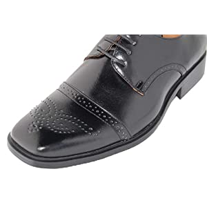 WOW!! POWER. GENUINE LEATHER Line Uppers Designer Jet Black Classy Fashion Shoe for Men Style# LEATHER LINE 106-2 GIORGIO BACCINI by AMERICAN SHOE FACTORY
