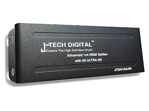 J-Tech Digital JTD0102/4K J-Digital Most Advanced 2 Ports HDMI 1X2 Powered Splitter, Support Ultra HD 4K 3840 A 2160 Resolution and 3D (Color: Ultra HD 4K, Tamaño: 1X2 Ultra HD 4K)