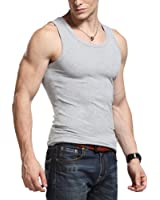 DJT Men Stretchy Body Shaper Plain Cotton Sleeveless Muscle Slim Fit Comfy Basic Tank/Undershirt/Top/T-Shirt/Vest Size L-2XL