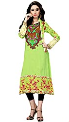 Justkartit Women's (& Girls) Green Colour Unstitched Floral design digital printed Pakistani Malai Lawn Kurti / Karachi fabric kutri / Daily wear Kurti (Latest Pakistani Fashion)