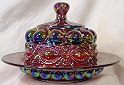 Ruby Red Carnival Glass Round Domed Butter Dish ~ Eyewinker Pattern