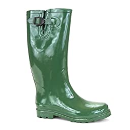 Twisted Women\'s DRIZZY Rubber Jelly Rain Boots- GREEN, Size 6