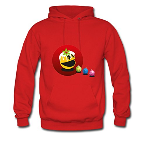 LARger pac-man Gildan Hoodie Sweatshirt Red (NEW) S