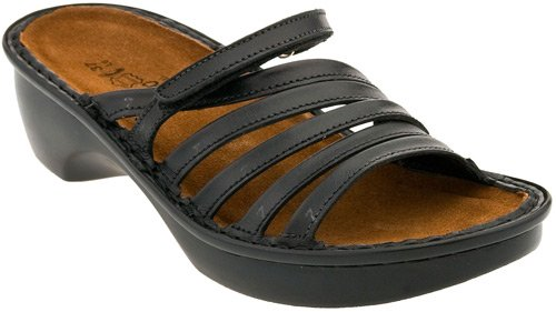 Naot Women's Concord Sandals,Black Madras Leather,38 M EU