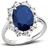 Sterling Silver Princess Diana Sapphire Ring 4.75ct TW