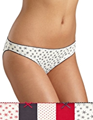 5 Pack Cotton Rich Low Rise Snowflake Bikini Knickers