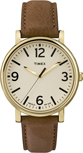 Timex Originals Unisex T2P527 Quartz Watch with Beige Dial Analogue Display and Brown Leather Strap.
