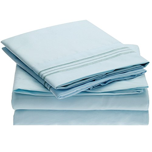 Harmony Linens Bed Sheet Set - 1800 Double Brushed Microfiber Bedding - 4 Piece (King, Baby Blue) (King Bed Hotel Sheets compare prices)