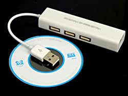 1 Port USB Network w/ 3 Port USB Hub to Female RJ45 Ethernet Wlan Adapter Card