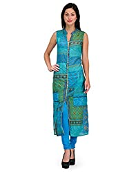 Adyana Multicolor Abstract Print Sleeveless Long Kurta (Small)