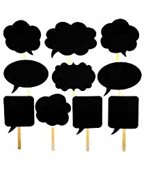 SNB 10Pcs PhotoBooth Props Signs with Chalk Board Speech Bubbles on a stick for parties & celebrations
