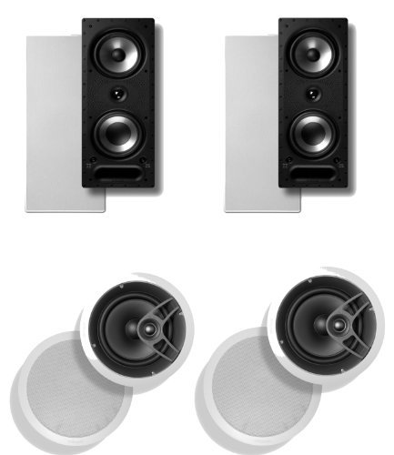 Polk Audio 265 Rt 3-Way In-Wall Speaker (Pair) Plus A Polk Audio Mc80 In-Ceiling Speaker (Pair)