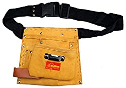 GLOBUS Leather Tool Bag 5 pockets- (8.5 x 9 inches, Brown)