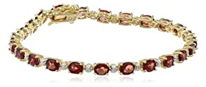 "18k Yellow Gold-Plated Sterling Silver Garnet and Diamond Bracelet, 7.25"" by Amazon Curated Collection"
