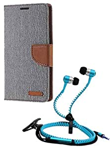 Aart Fancy Wallet Dairy Jeans Flip Case Cover for MicromaxA104 (Grey) + Zipper Earphones/Hands free With Mic *Stylish Design* for all Mobiles- computers & laptops By Aart Store.