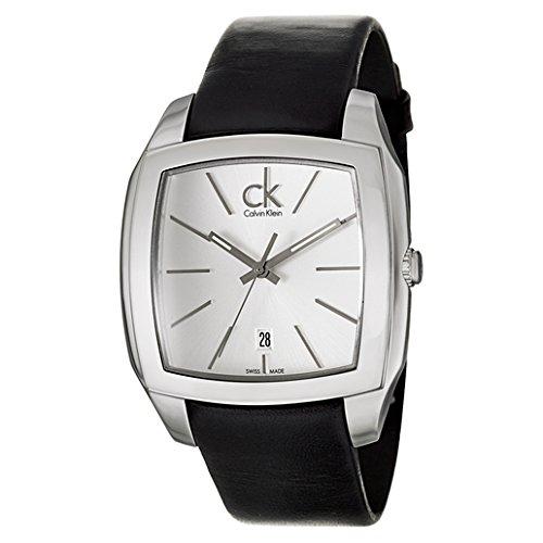 Calvin Klein Men's K2K21120 'Recess' Silver Dial Black Leather Strap Swiss Quartz Watch Calvin Klein Dress Watch