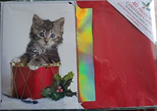 40 Christmas Cards with Matching Self-seal Envelopes  Kitten