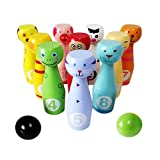 Lewo 12 Pieces Sports Wooden Bowling Game Toy Skittles Set With 10 Pins 2 Bowling Balls For Kids Stacking Blocks...